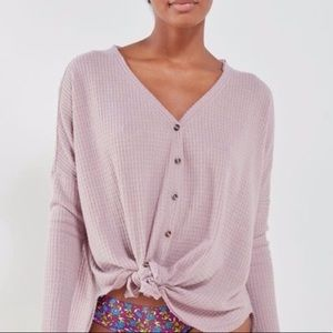 UO Jojo Waffle Knit Button Down Cardigan Sweater